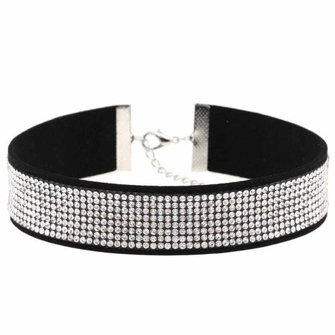 Black Leather Rhinestone Choker Necklace