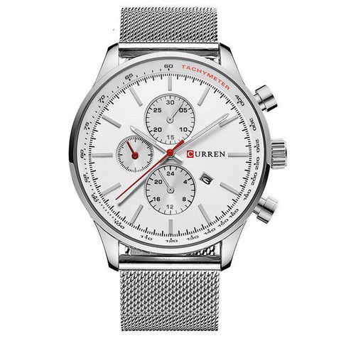 Men's Silver/White Quartz Watch