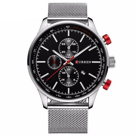 Men's Silver/Black Quartz Watch
