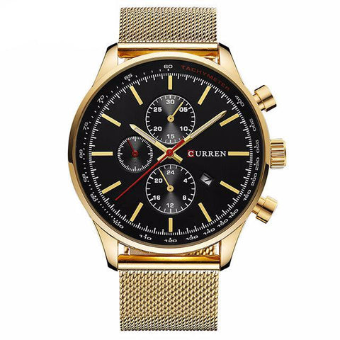 Men's Gold/Black Quartz Watch