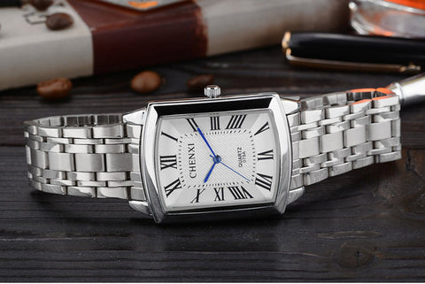 Square Dial Steel Watch