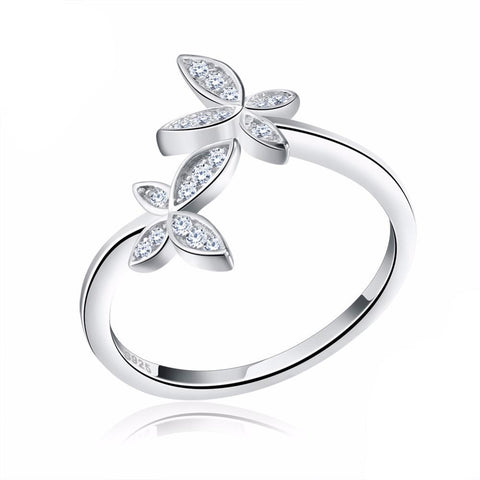 Silver Flower Ring With Zircona