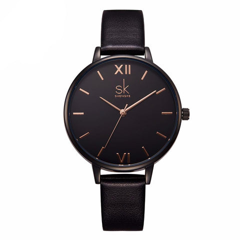 SK Leather Band Quartz Watch