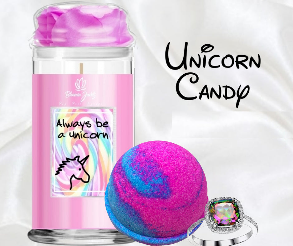 Unicorn Candy - Jewelry Candle & Bath Bomb Set