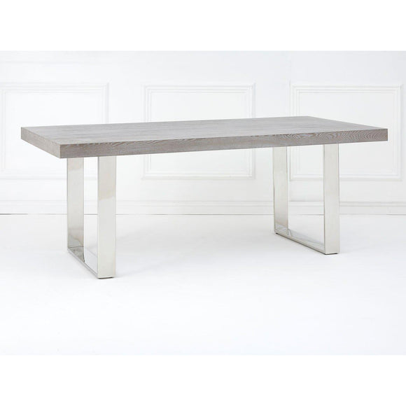 8f5338c1b279 Grey Elm Wood Dining Table With Stainless Steel Legs-Cienega