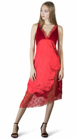 Seville red satin net dress slipon velvet chelsint Canadian-designer