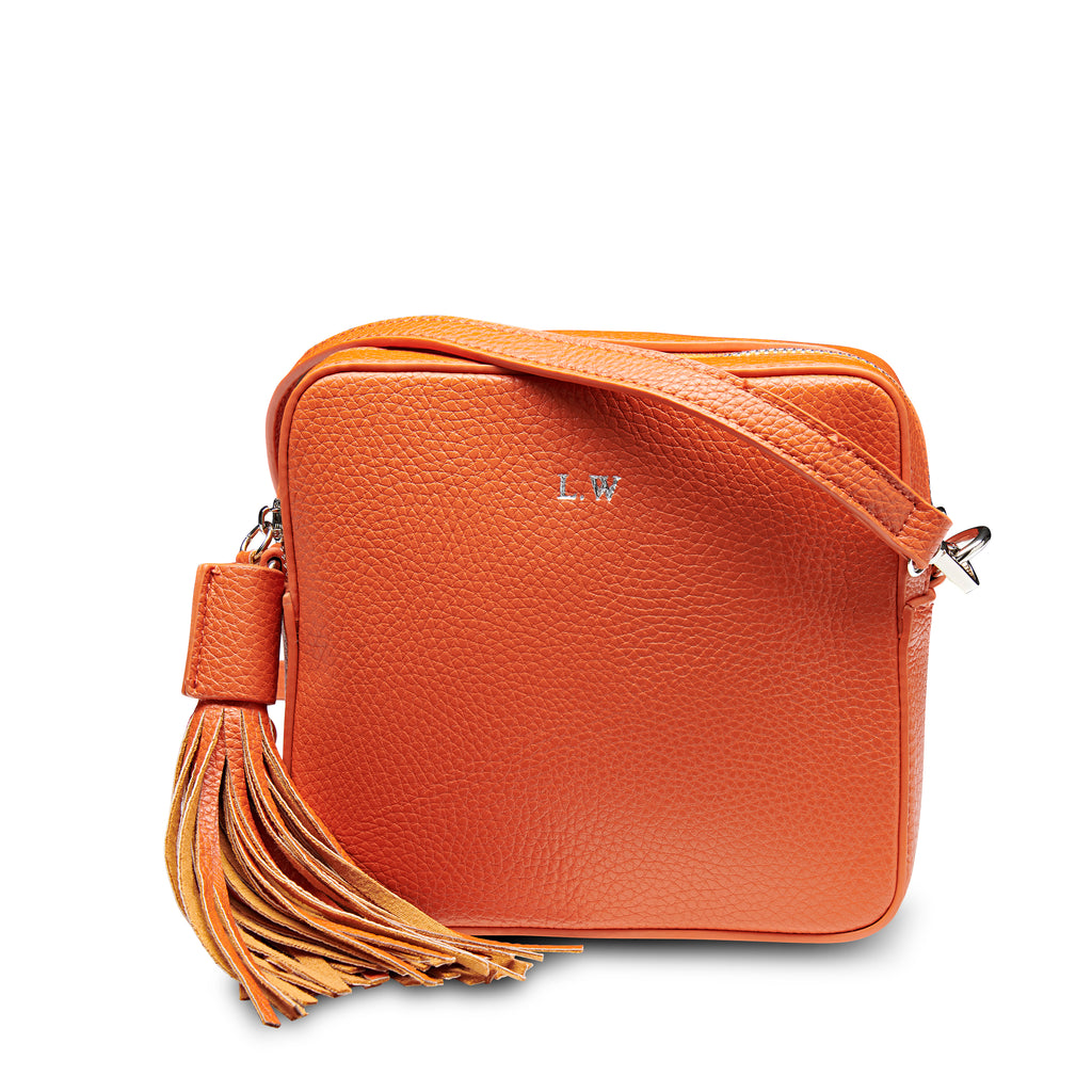 Hermes Orange Vegan Leather Cross Body Bag