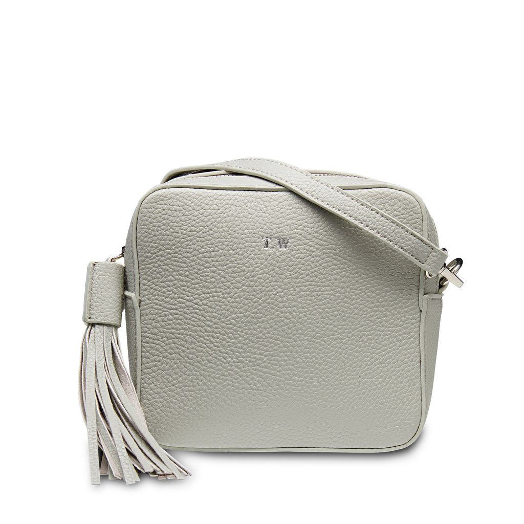 Stone Grey Vegan Leather Cross Body Bag