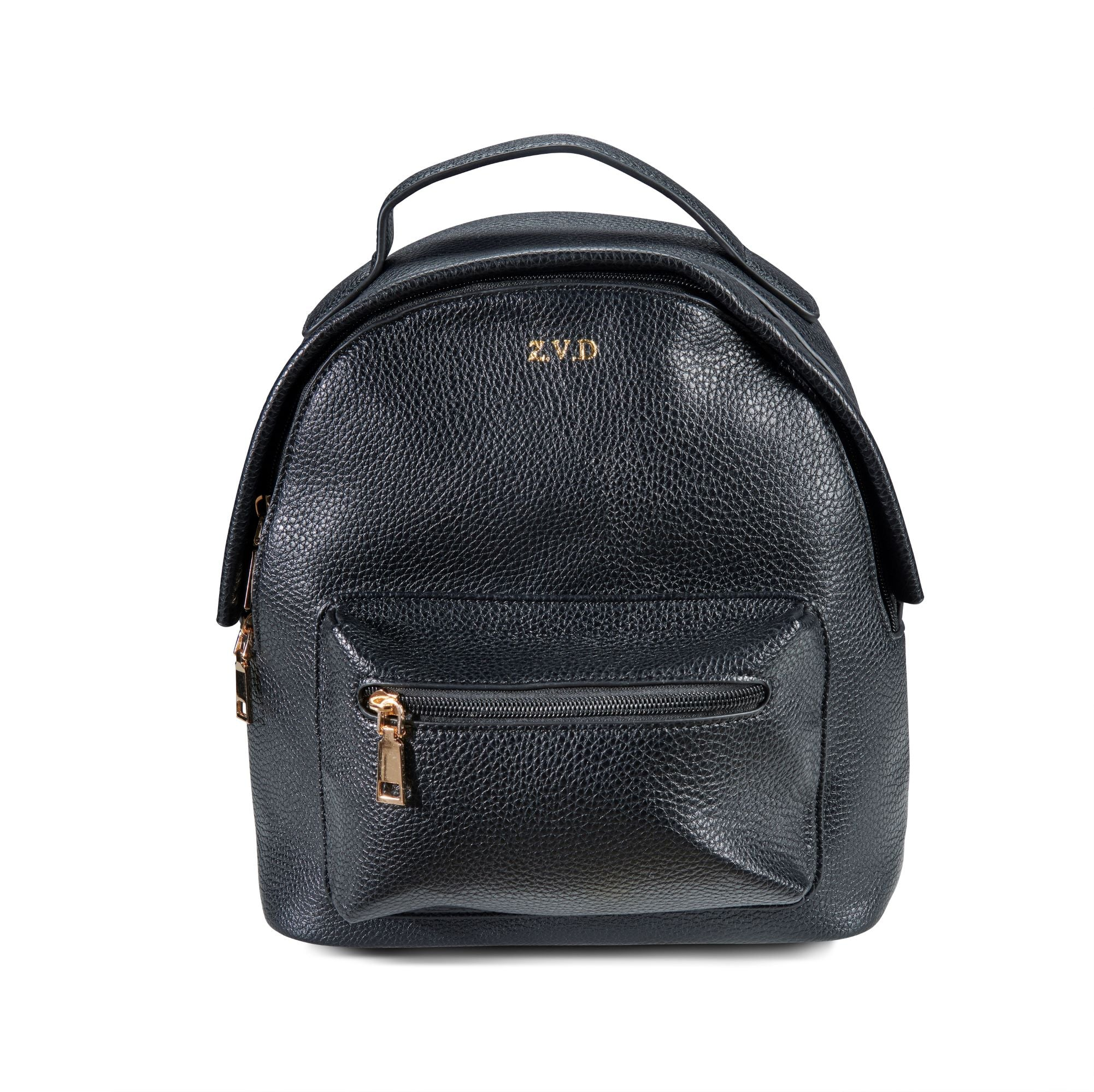 Black Vegan Leather Mini Backpack