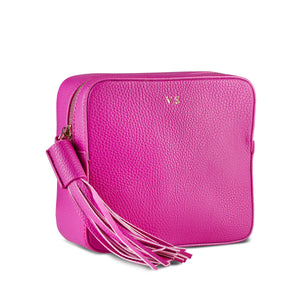 Neon Pink Vegan Leather Cross Body Bag
