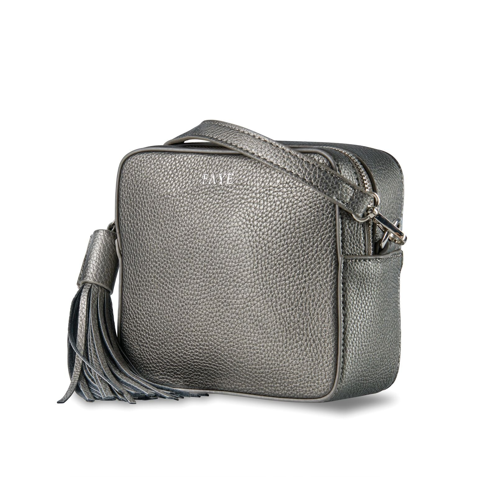 Gunmetal Grey Vegan Leather Cross Body Bag