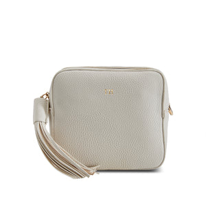 Cream Vegan Leather Cross Body Bag