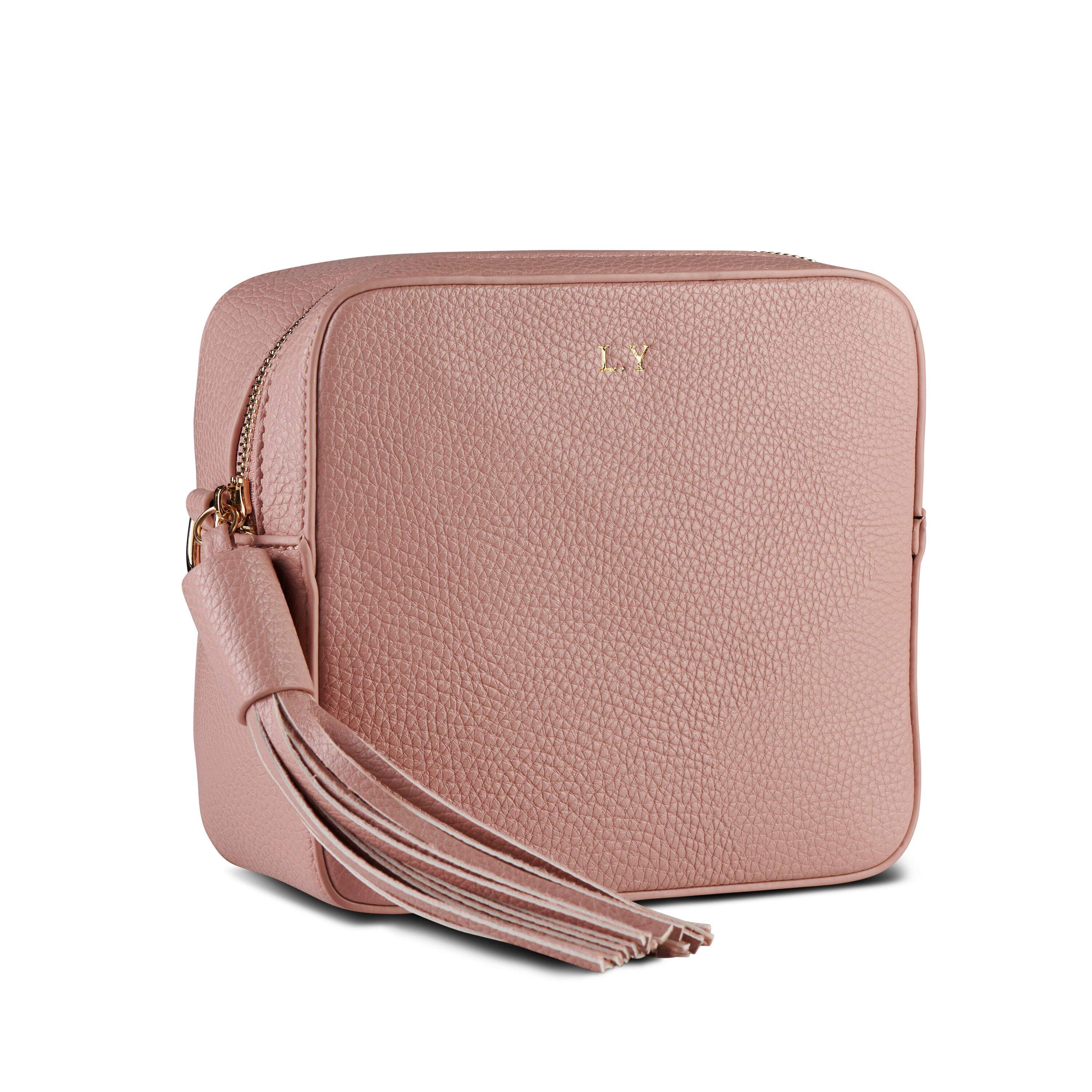 Blush Pink Vegan Leather Cross Body Bag