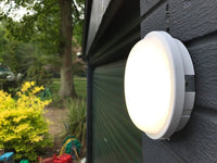 LightHub 15W 4000K LED IP65 Outdoor Wall Surface Flush Mounted Round Bulkhead Light Fitting Exterior Outside Porch Garden Patio Entrance White 1