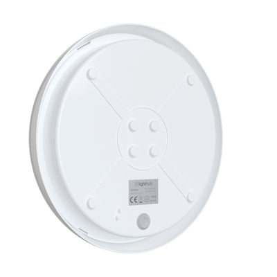 EUSTON 14W LED Microwave Sensor Bulkhead Light Round Dome White IP54 Commercial Utility Wall Ceiling