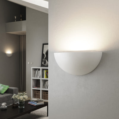 POPLAR Half Moon Up Plaster Uplighter Wall Mounted Paintable Gypsum Light E14 SES