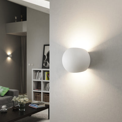 BEXLEY Up Down Plaster Round Uplighter Wall Mounted Paintable Gypsum Indoor Light G9