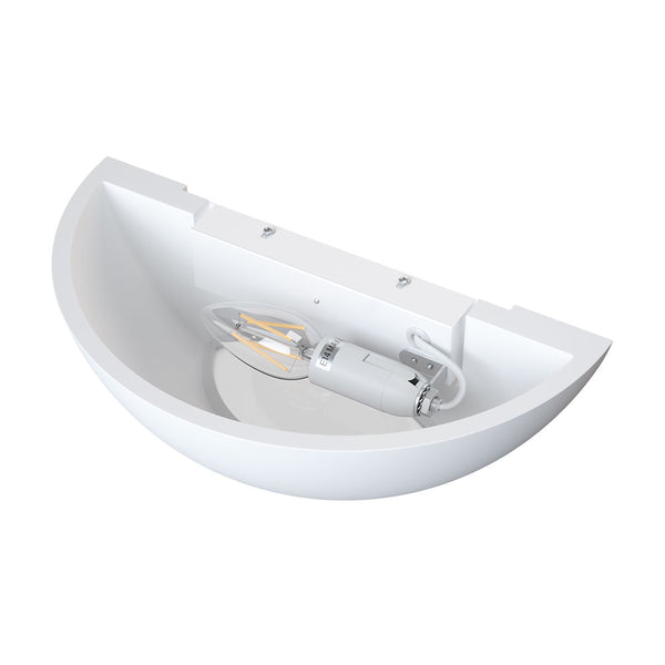 HALKIN Up Down Half Moon Plaster Uplighter Wall Mounted Paintable Gypsum Indoor Light E14