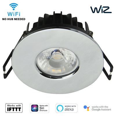 WiZ Smart App Wifi IFTTT Downlight LED CCT Dimmable IP65 Fire Rated Chrome