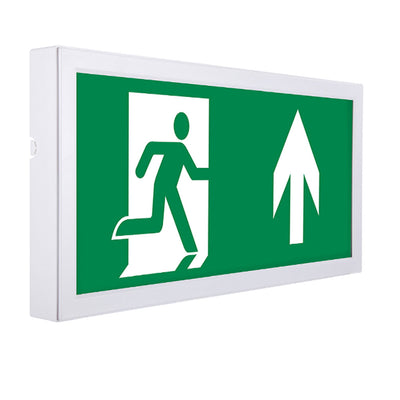 Slim Over Door LED Emergency Fire Exit Sign Maintained Running Man Arrow Box