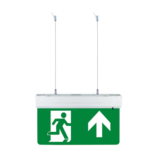 Suspended Hanging LED Emergency Fire Exit Sign Maintained Running Man Arrow Kit