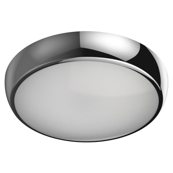 EUSTON 14W LED Microwave Sensor Bulkhead Light Round Dome Chrome IP54 Commercial Bathroom Utility Wall Ceiling