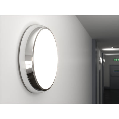 EUSTON 14W LED Emergency Microwave Sensor Maintained / Non Maintained Round Corridor Bulkhead Light 3HR Chrome IP54