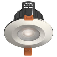 STRATA PRO - CCT LED Fire Rated Downlight IP65 6W Dimmable Slim Brushed Chrome Tri Colour: 3000K 4000K 5000K