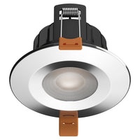 STRATA PRO - CCT LED Fire Rated Downlight IP65 6W Dimmable Slim Polished Chrome Tri Colour: 3000K 4000K 5000K