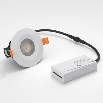 STRATA PRO - CCT LED Fire Rated Downlight IP65 6W Dimmable Slim White Tri Colour: 3000K 4000K 5000K
