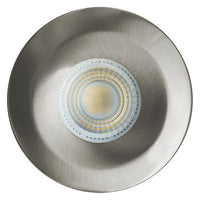 Low Profile Fire Rated Downlight LED IP65 7W Dimmable Warm or Cool White - Brushed Chrome