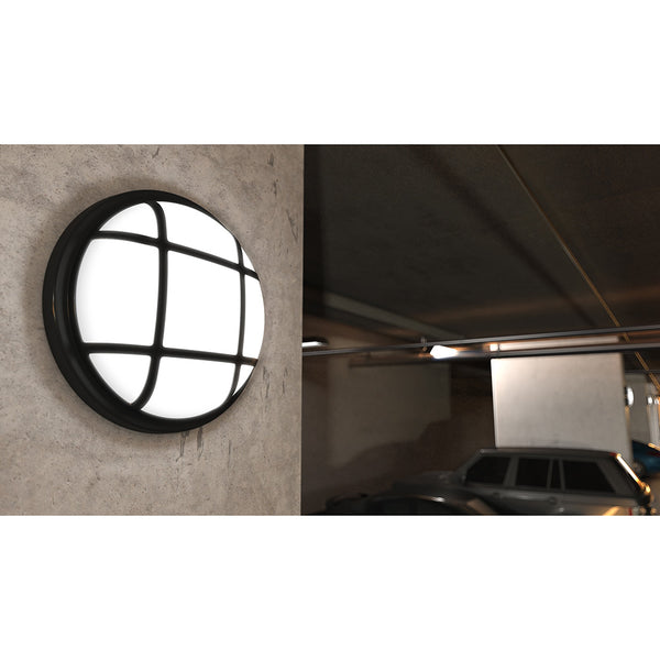 SOHO LED IP65 Outdoor Indoor Wall Ceiling Caged Round Bulkhead Light Flush Black