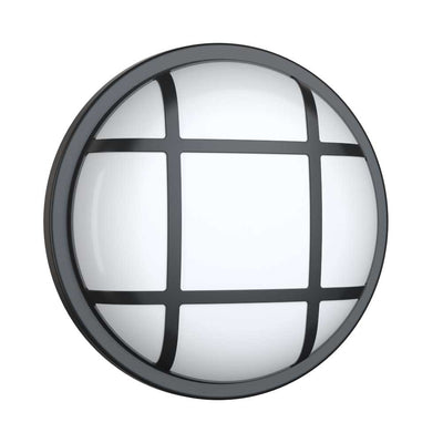 SOHO LED Cage Bulkhead Round Light IP65 Wall Ceiling Outdoor Indoor Caged Black