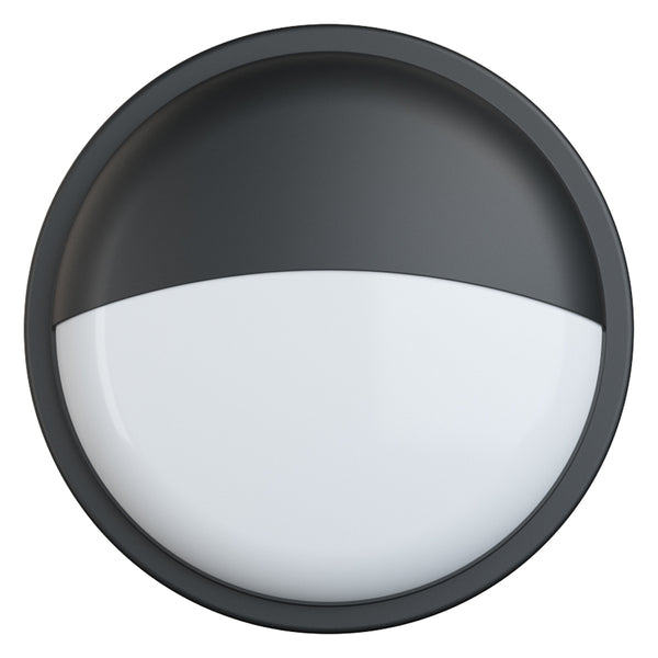 SOHO LED Bulkhead Light IP65 Outdoor Wall Ceiling Round Black Eyelid