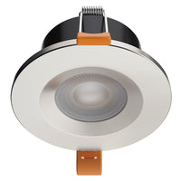 STRATA CCT LED Fire Rated Downlight IP65 6W Dimmable Slim Brushed Chrome Tri-Colour: 3000K 4000K 5000K