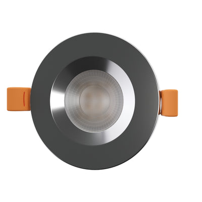 STRATA CCT LED Fire Rated Downlight IP65 6W Dimmable Slim Polished Chrome Tri-Colour: 3000K 4000K 5000K