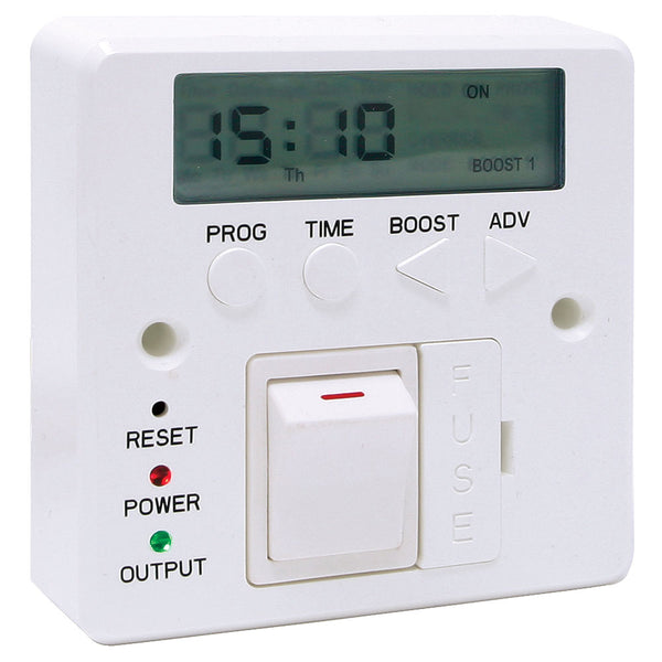 7 Day Fused Timer Spur Switch for Immersion, Fan, Panel, Towel Heaters & LED Lighting