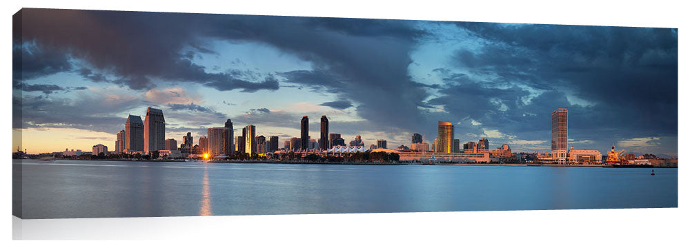 San Diego skyline during dramatic late afternoon light show.