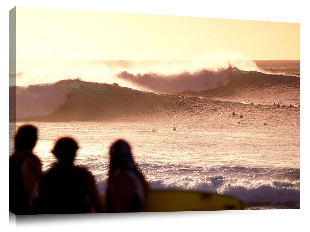 golden lineup at Pipeline, north shore, Oahu, Hawaii