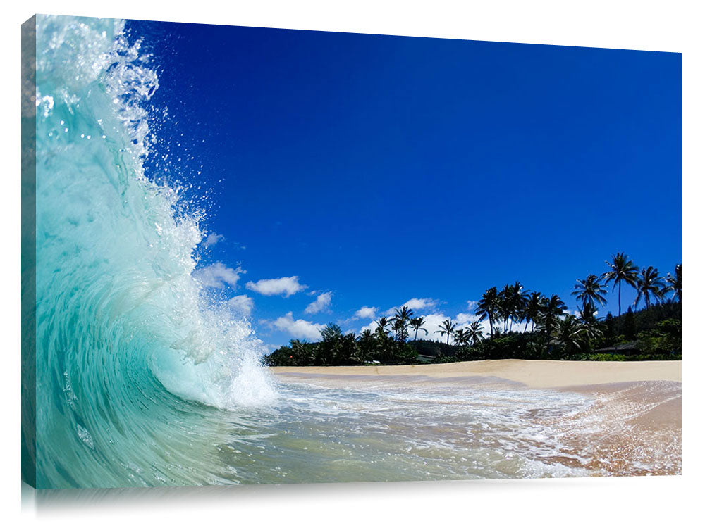 waves breaking on beach at Log Cabins, north shore, Oahu, Hawaii