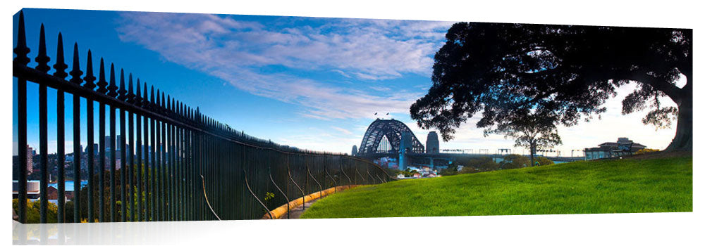 panoramic view of Sydney Harbour bridge from Observatory Hill.