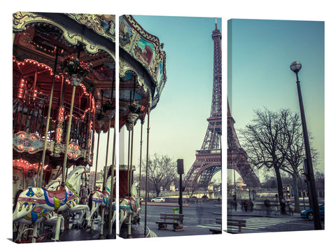 Carousel with the Eiffel tower in the background