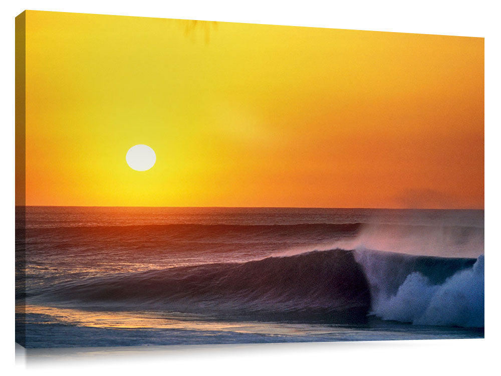 Sunset over Backdoor, north shore, Oahu, Hawaii