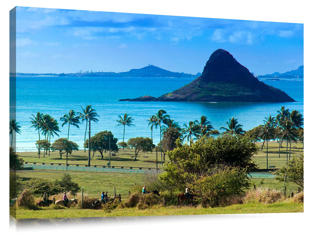 Chinaman's Hat photographed from Kualoa Ranch, on the east side