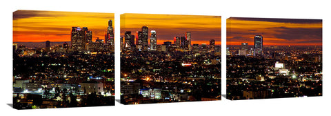 Los Angeles city in the early morning twilight.