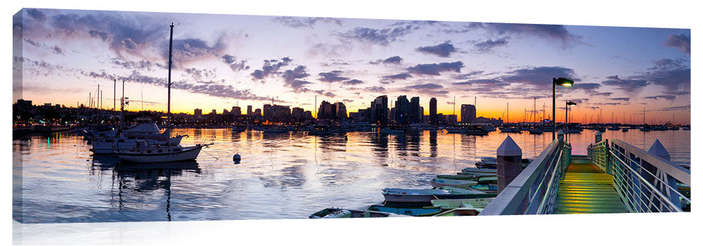Panoramic view of San Diego city under the early morning twilight.