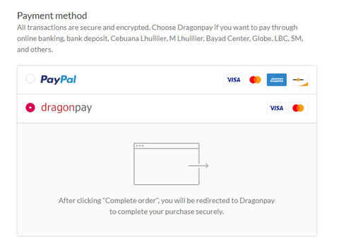 Choose Dragonpay as payment method