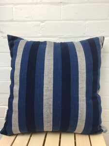 Cushion cover with exclusive design hand woven cotton 'Dark Indigo Stripe'