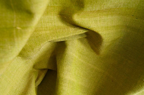 Handmade Natural Dyed 100% Cotton: Thinner Yarn in Green Yellow. Handwoven