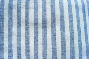 Handmade Natural Dyed 100% Cotton: Stripe Pattern. Thinner Yarn in Pastel Blue and White. Handwoven